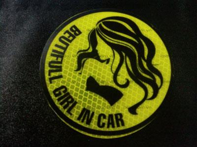 TEM PHẢN QUANG XE HƠI XINH GÁI IN CAR